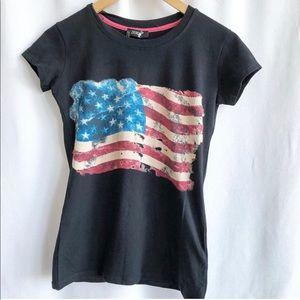 Zerda black American flag cotton t-shirt